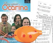 OCARINA Orange 6-hole Musical Instrument + COMPLETE Play Your Ocarina Books 1-4,