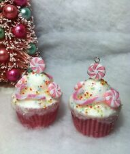 2 Pink Peppermint Patty Cupcake Christmas Tree Ornaments