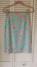 Lily Pulitzer size 4 silk skirt blue with pink flowers green & white