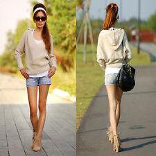 Cotton Blend V Neck Long Sleeve Cropped Jumpers & Cardigans for Women
