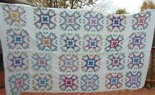 """108"""" X 62"""" Vintage Hand Embroidered Stars & Flowers Quilt Top Ready to Quilt"""
