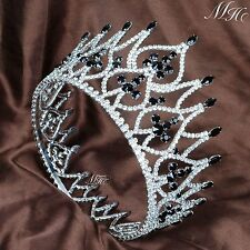 Black Rhinestones Tiaras Diadem Wedding Brides Crystal Crowns Pageant Party Prom