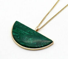 Fashion Gold Plated Malachite Stone Semicircle Pendant necklace