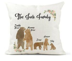 Personalised Bear Family Cushion,Mamma Bear, Mummy Bear, Daddy Bear, Family Gift