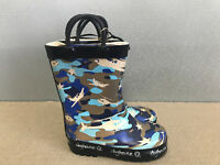 BNWT Little Boys Size 9 Rivers Doghouse Brand Blue Camo with planes Gumboots