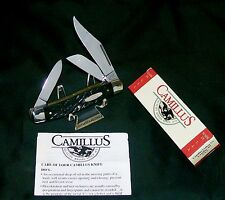 Camillus 884 Knife Black Stag Appearance Stockman Circa-1980 W/Packaging,Papers