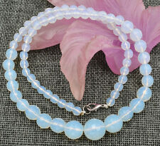 Beautiful 6-14mm Faceted Opal Round Gemstone Beads Necklace 18""