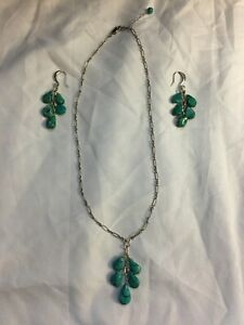 Sterling Silver Turquoise Dangle Y Drop Necklace & Earring Set Nuggets 925 16""