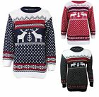 Womens Christmas Knitted Aztec 2 Reindeer Fairisle Pullover Sweater Jumper