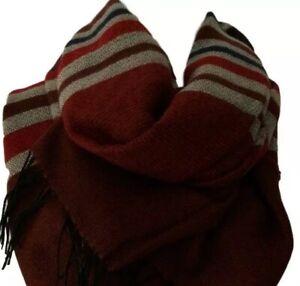 Burgundy Scarf Ladies Navy Blue Beige Striped Stripes Blanket Wrap Shawl Stripey