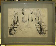 Amy Jones 1953 Modernist Drawing of Fountains Near Versailles Listed NY Artist