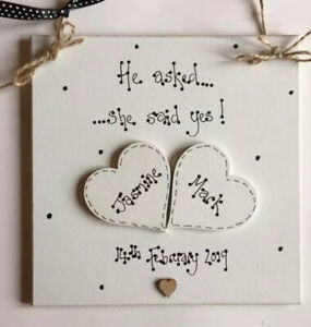 Personalised wooden engagement plaque he asked, she said yes gift