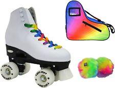 Allure Twilight Rainbow LED Light Up High-Top Quad Roller Skate 3 Piece Bundle
