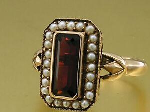 R145 Genuine 9K, 10K, 14K or 18K Solid Gold Natural Garnet & Pearl Dress Ring