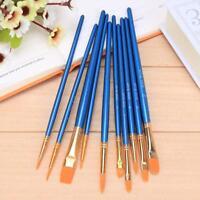 10Pcs Nylon Hair Artist Paint Brush Watercolor Gouache Set Art Painting Supplies