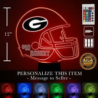 U of Georgia - Bulldogs Football Personalized FREE Light Up 3D Illusion LED