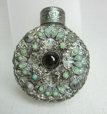 Vintage Decorative Glass and Metal Vanity Boudoir Table Perfume Bottle