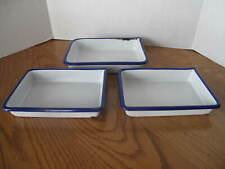 3 Vintage Enamelware Porcelain Metal Photo Film Developing Darkroom Trays