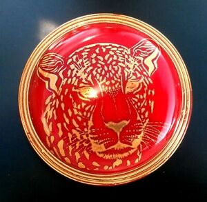 """1 Czech Red Glass Button #B398 - 32 mm or 1-1/4"""" - SPARKLING 24 CT GOLD  TIGER"""