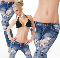 Women's Skinny Jeans Low Cut Destroyed Look Ripped Blue Jeans Size 6-14 hot