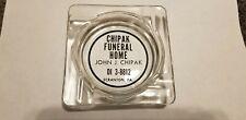 Vintage Funeral Home Ashtray John J Chipak Glass Ash tray art deco SCRANTON PA