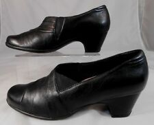 CLARKS Everyday 85410 Womens Clogs Size 9.5 M Leather Slip On Block Heel Black