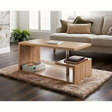 Coffee Table Living Room Furniture Modern Design With Shelf Oak