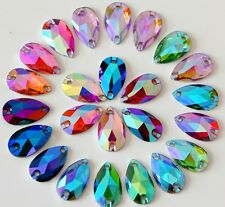 50pcs Mixed AB 18mm*11mm Flat Back Tear Drop Sew On Acrylic Rhinestones Buttons