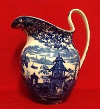 "Antique 1890 Wedgwood Chinese Pattern Unusual Blue & White Jug 11.5"" (29cm) High"