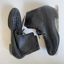 Men's Vintage Black Leather Ice Skates Size 10 Worn & Collectable for Display
