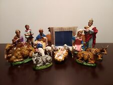 VINTAGE PAPER MACHE HAND PAINTED IN ITALY CERAMIC NATIVITY BARN SET 15Pc