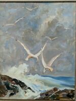 Original Earl W. North (1904-1989) Painting- Listed Ohio Artist SEASCAPE SEAGULL