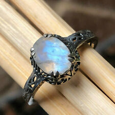 Art Deco Natural Rainbow Moonstone 925 Solid Sterling Silver Engagment Ring sz 7