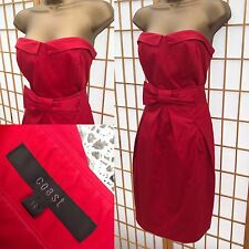 Coast Red Dress Size 14 Bandeau Party Prom Wedding Races Bow Front 504