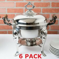 6 Pack Stainless Steel Choice Classic Catering 5 Qt Half Size Round Chafer Dish