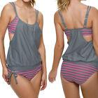 Plus Size Lady Sexy Tankini Bikini Set Push-up Padded Swimsuit Swimwear Bathers