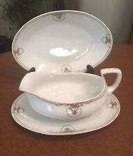 Austria Hub China Gravy Boat, Undertray And Serving Bowl