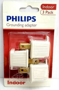 Philips 3pk UL Listed 2 to 3 prong 110v 125V AC Outlet Grounded Adapters Indoor