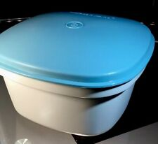 Vintage Tupperware Square Multi Server Steamer 888-10-Teal, Off White 3 Pieces