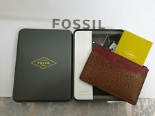 FOSSIL Card Holder Andy Canvas Leather Slim Card Case Multi Designer Wallet BNWT