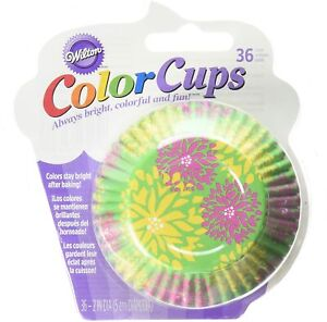 WILTON 36 PACK COLOR CUPS SPRING EASTER GREEN FLORAL CUPCAKE CASES BAKING CUPS