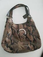 Coach women handbag Soho Lynn Python Embossed  Snakeskin Hobo Purse grey brown