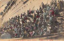 COALING ON THE SHIP AT NAGASAKI HARBOUR JAPAN COAL POSTCARD 1909
