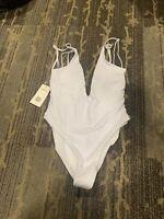 Zaful Ladies Size 4 White One Pice Bathing Suit, Adjustable Straps