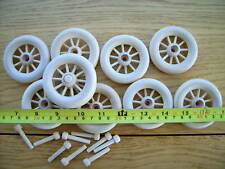 "2x Spoked wooden wheels + axles. 63mm 2 1/2"" toys carts"