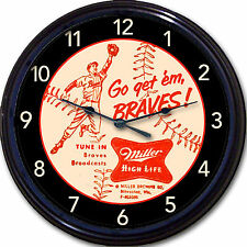 Milwaukee Braves Miller Beer Coaster Wall Clock Brewers Baseball MLB New 10""