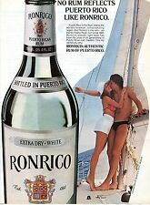 1981 Ronrico Authentic Extra Dry White Puerto Rican Rum Sail Boat Print Ad