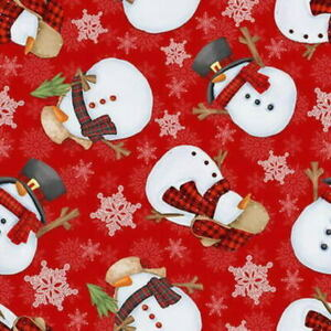 Shelly Komiskey Timber Gnomies Red Tossed Snowmen 9272-88 Cotton Fabric BTY