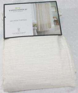 "Threshold Shower Curtain 100% Cotton 72in x 72"" Standard Top Cream Taupe Stripe"