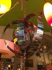 LAMPADARIO A SOSPENSIONE 70s ACCIAIO CROMATO CHROMED STEEL PENDANT LAMP